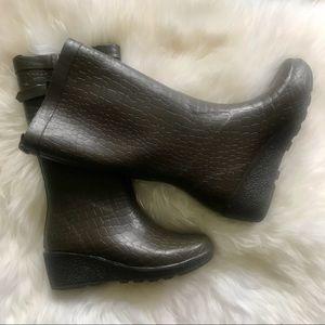 Dark Brown Croco Rain boot, Capellini New York, 7